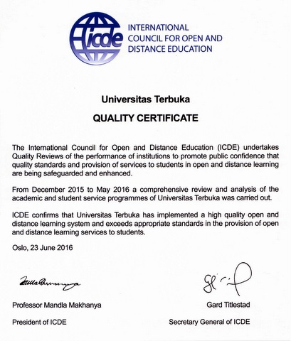 Universitas Terbuka Quality Certificate by ICDE June 2016