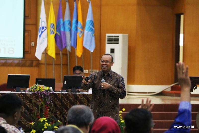 Sambutan Rektor UT di Rakornas Anggaran 2018