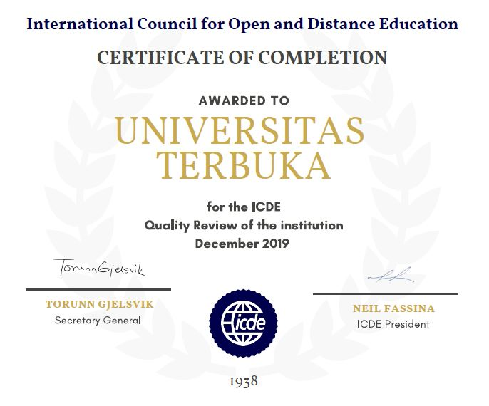 Universitas Terbuka Quality Certificate by ICDE